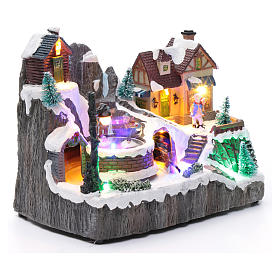 Villaggio natalizio luminoso musica movim trenino lago ghiacciato 19X23X16 cm s3