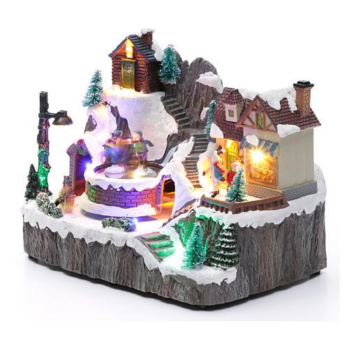 Villaggio natalizio luminoso musica movim trenino lago ghiacciato 19X23X16 cm 2
