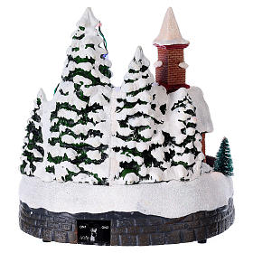 Illuminated Christmas village with music and moving train 20X19X18 cm s5