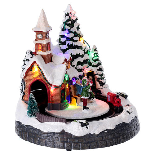 Illuminated Christmas village with music and moving train 20X19X18 cm 4