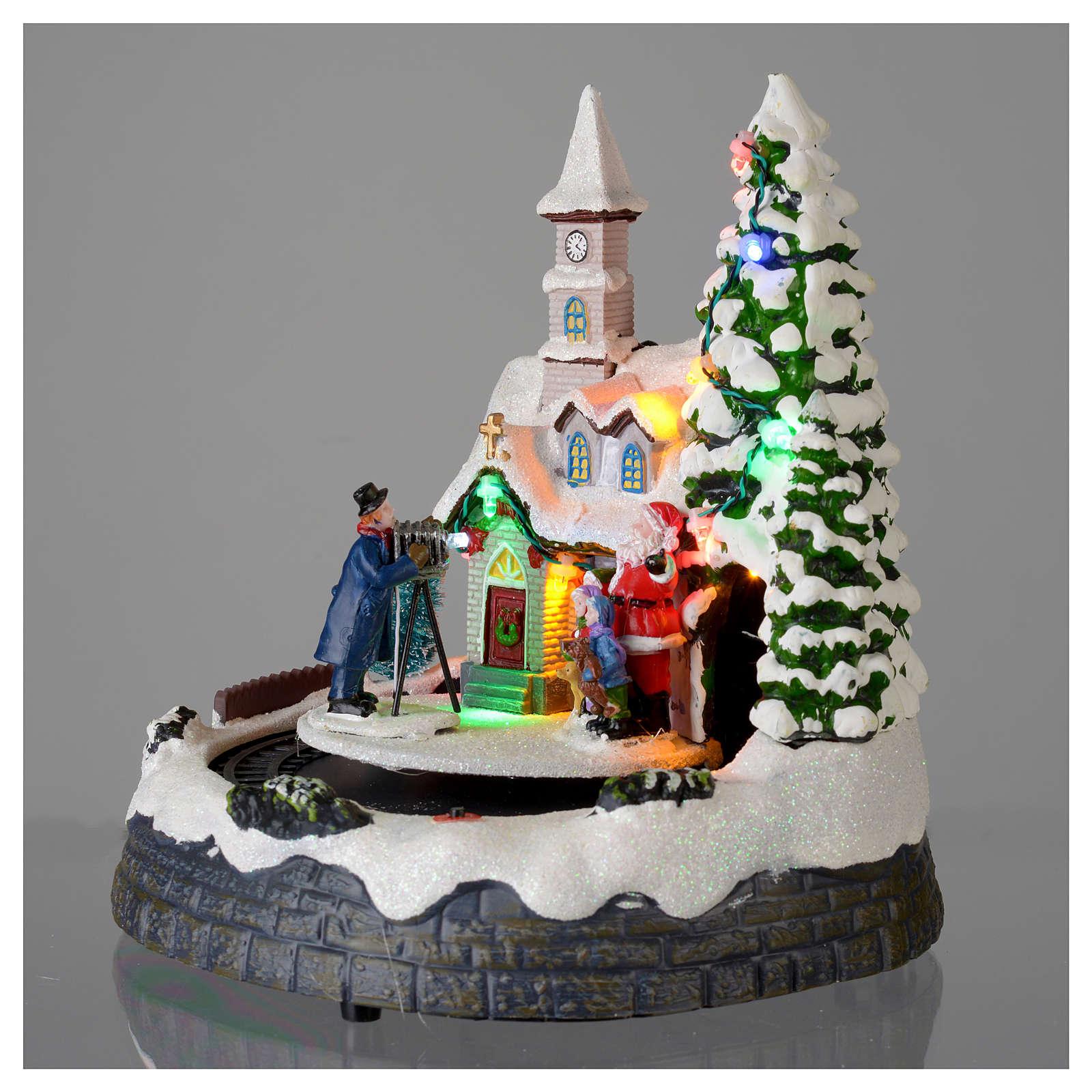 Villaggio natalizio illuminato musicale movimento trenino 20X19X18 cm 3