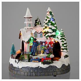 Villaggio natalizio illuminato musicale movimento trenino 20X19X18 cm s2
