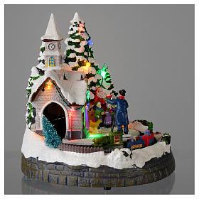 Villaggio natalizio illuminato musicale movimento trenino 20X19X18 cm s4
