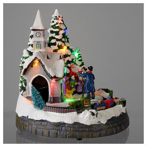 Villaggio natalizio illuminato musicale movimento trenino 20X19X18 cm 4