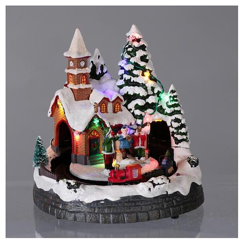 Villaggio natalizio illuminato musicale movimento trenino 20X19X18 cm 2