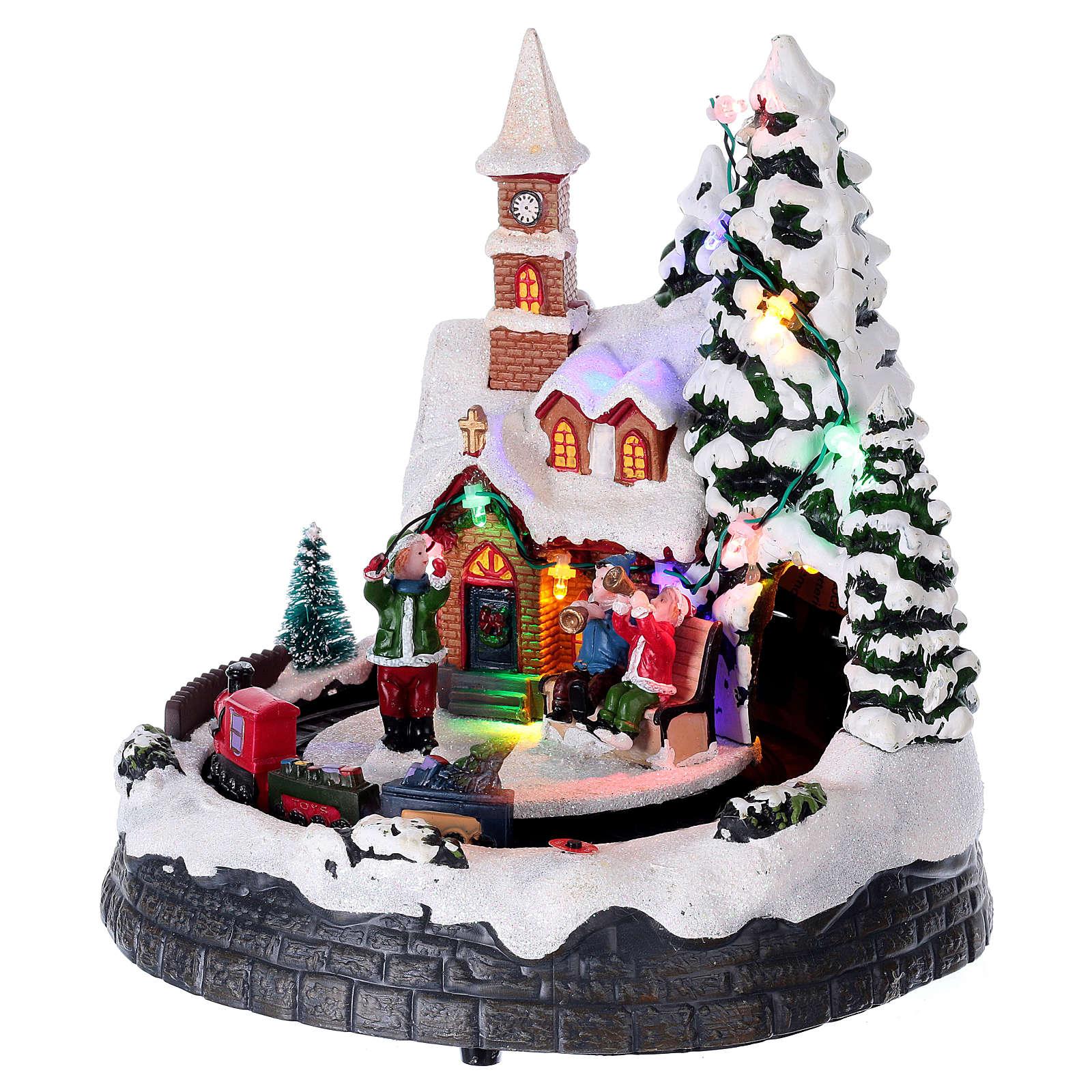 Scenka zimowe miasteczko podświetlane grające z ruchomym pociągiem 20x19x18 3