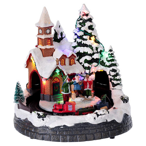 Scenka zimowe miasteczko podświetlane grające z ruchomym pociągiem 20x19x18 1