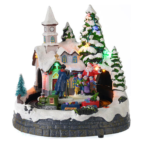 illuminated christmas village with music and moving train 20x19x18 cm 1 - Moving Christmas Decorations