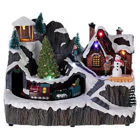 Villages de Noël miniatures: Village Noël illuminé musique mouvement pompiers 19x23x16 cm