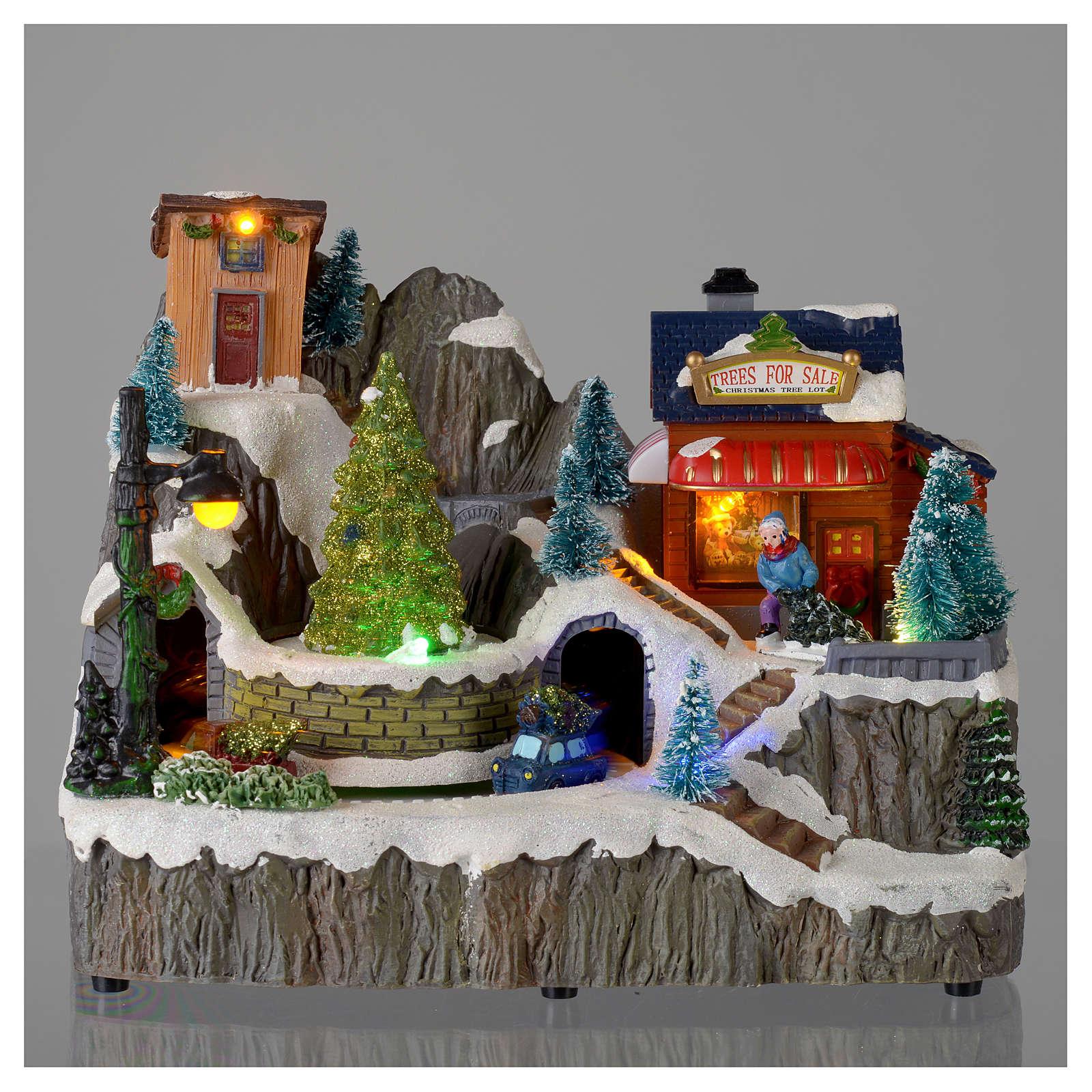 Villaggio natalizio luminoso musica trenino movimento pompieri 19X23X16 cm 3