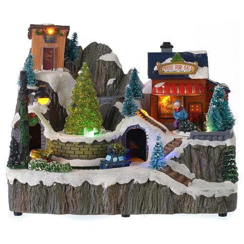 Villaggio natalizio luminoso musica trenino movimento pompieri 19X23X16 cm 1