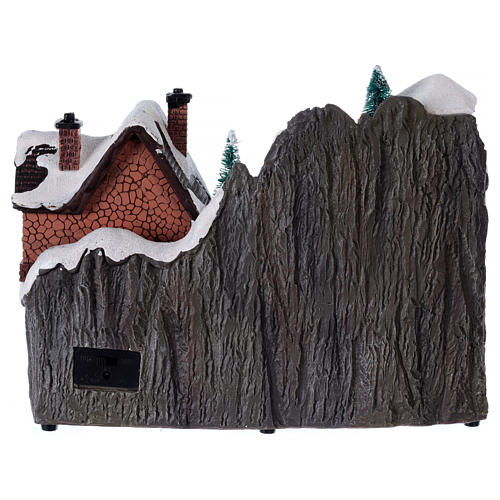 Villaggio natalizio luminoso musica trenino movimento pompieri 19X23X16 cm 5