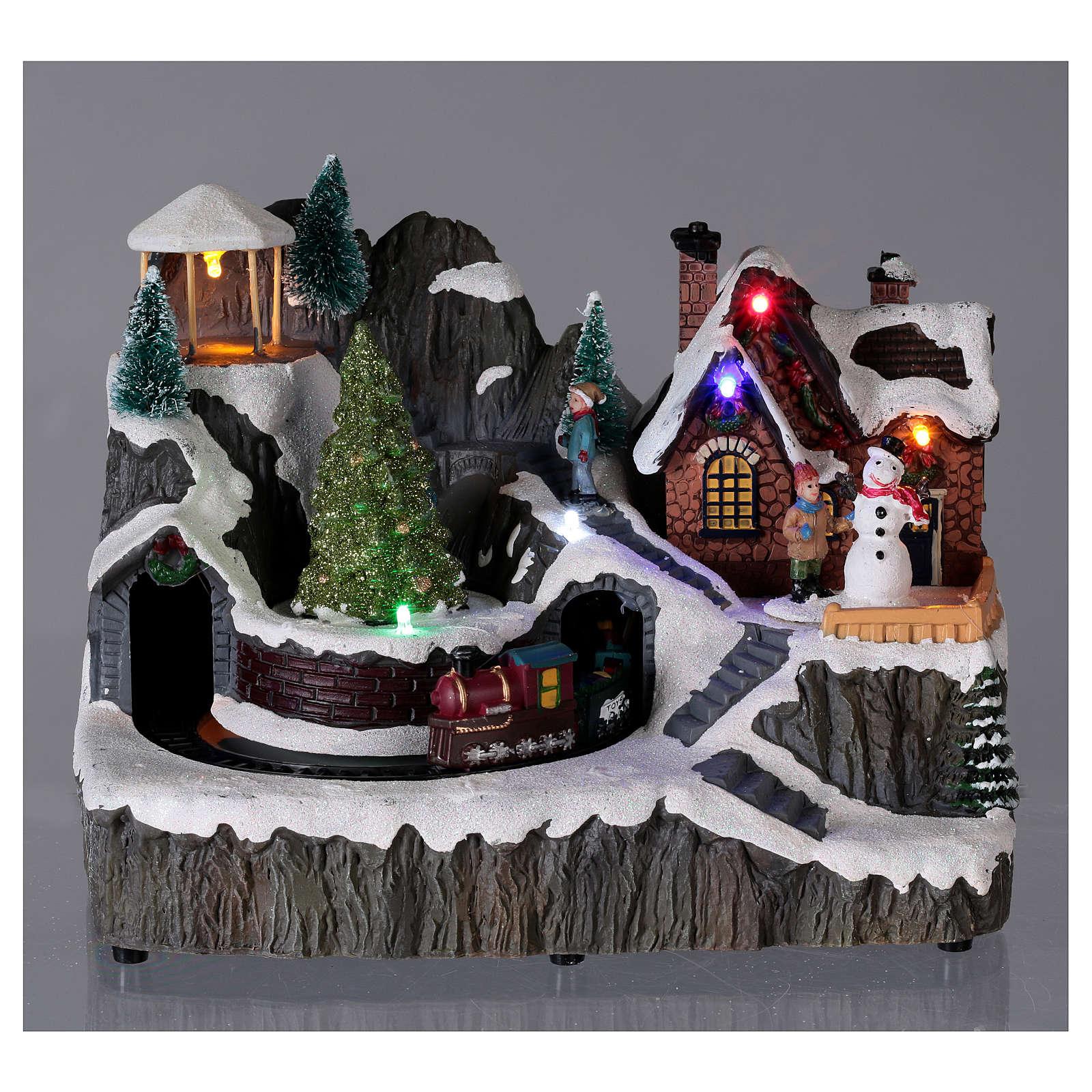 Cenário natalino luminoso música carros movimento 19x23x16 cm 3