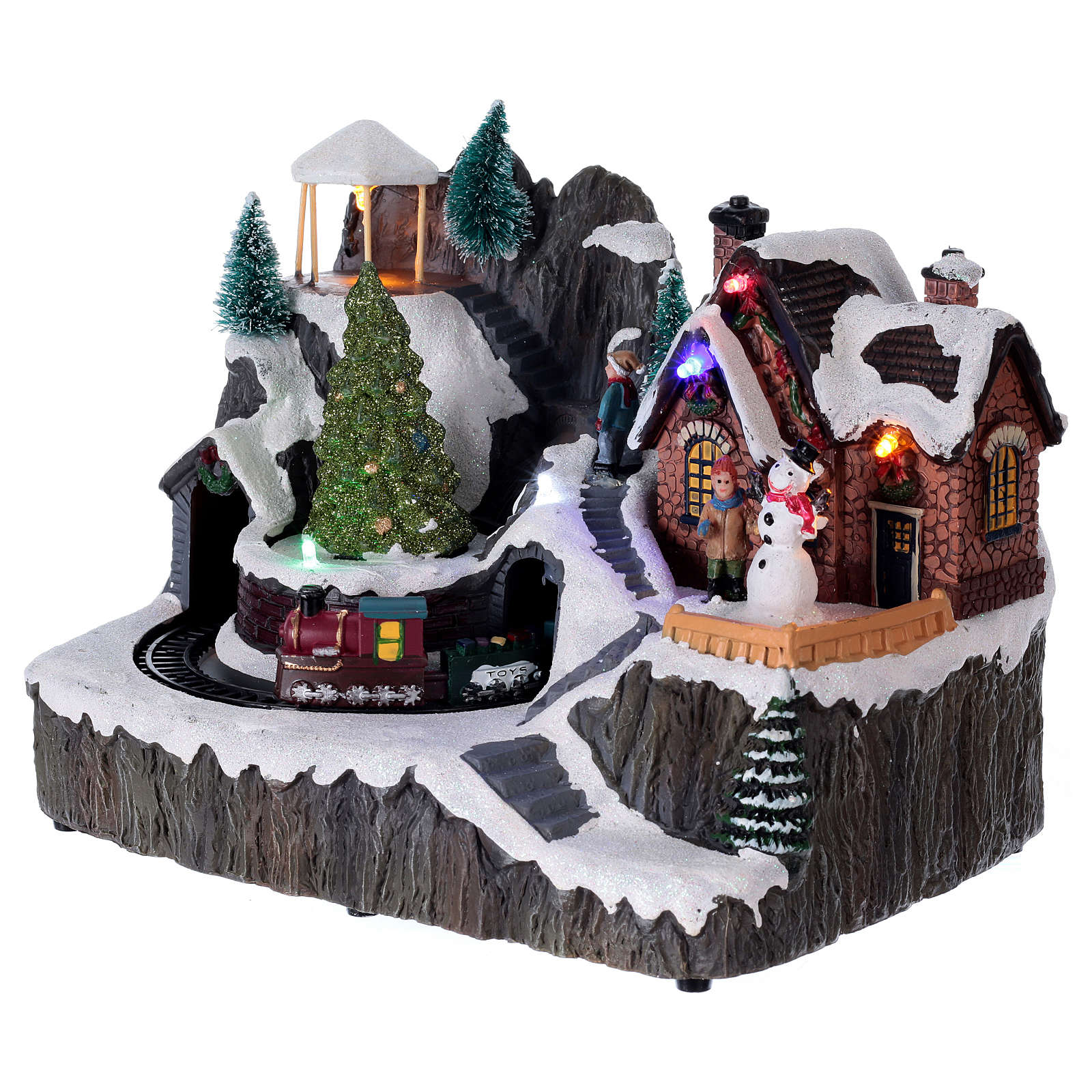 Illuminated Christmas village with music and moving train 19X23X16 cm 3