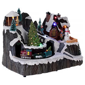 Illuminated Christmas village with music and moving train 19X23X16 cm s4