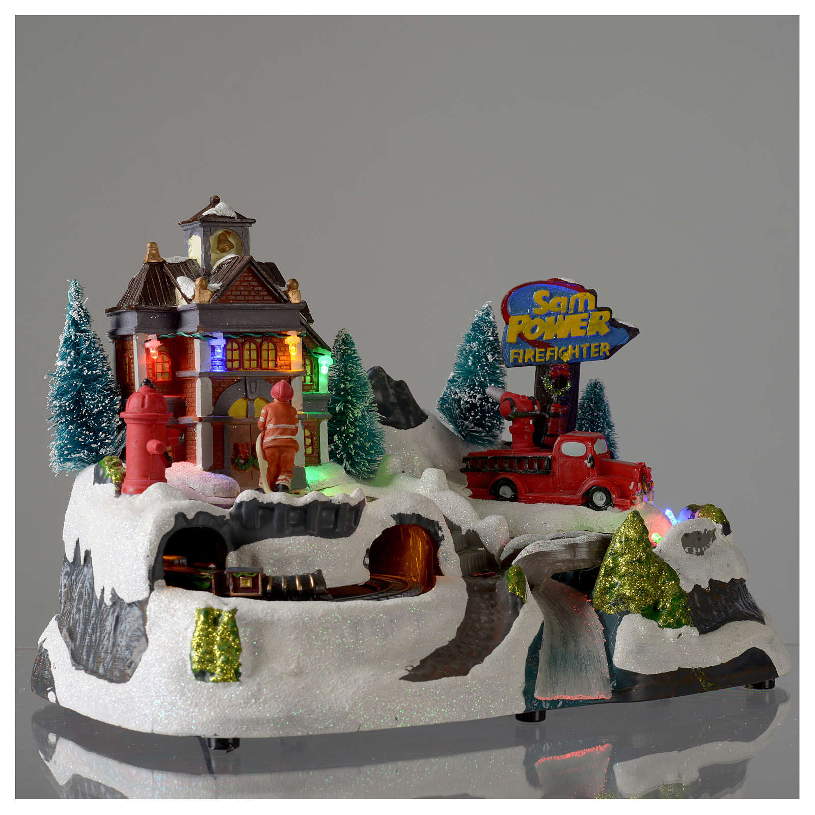 Christmas village with firemen and moving train 23X27X17 cm 3
