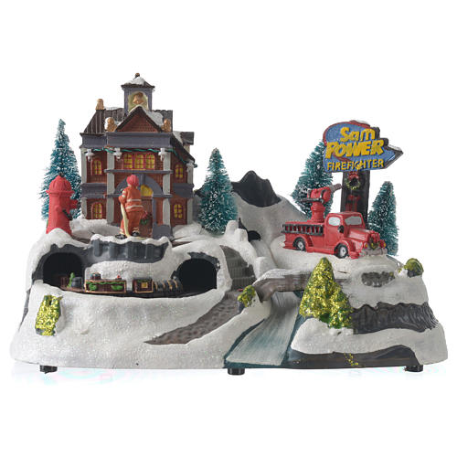 Christmas village with firemen and moving train 23X27X17 cm 1