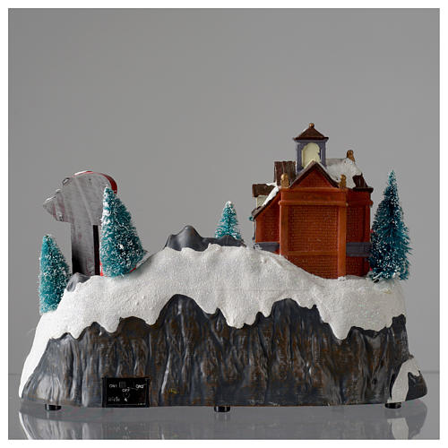 Christmas village with firemen and moving train 23X27X17 cm 5