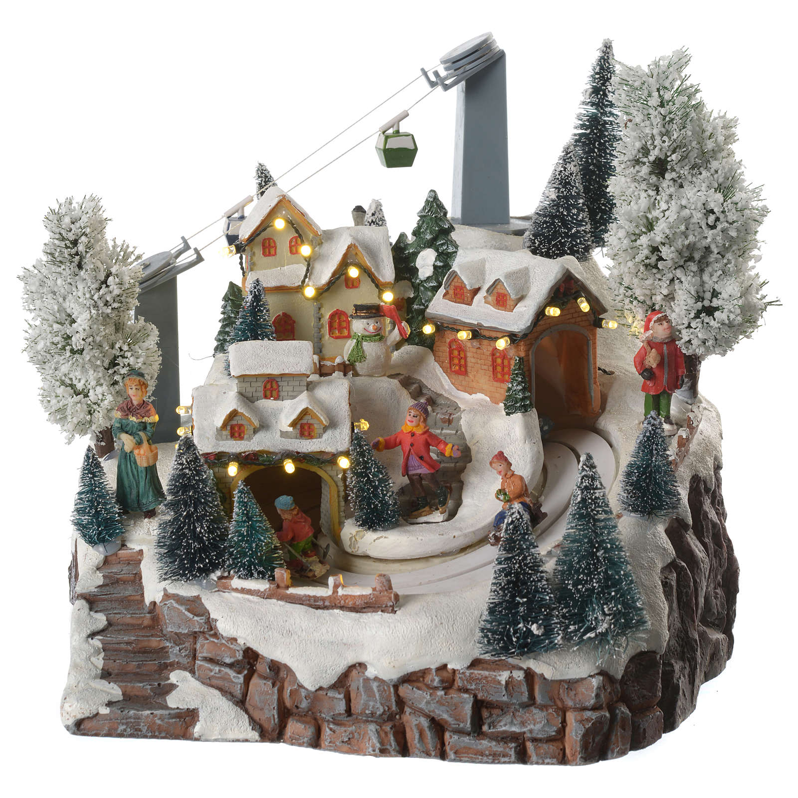 Aldea navideña esquiadores y teleférico en movimiento iluminada y musical 30x25x25 3