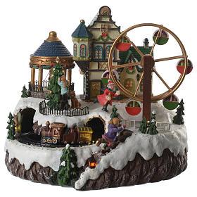 Cenário de Natal musical roda gigante e trem em movimento 34x26x29 cm s1