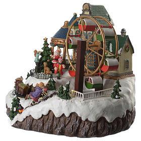 Cenário de Natal musical roda gigante e trem em movimento 34x26x29 cm s2