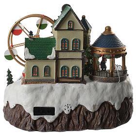 Cenário de Natal musical roda gigante e trem em movimento 34x26x29 cm s4