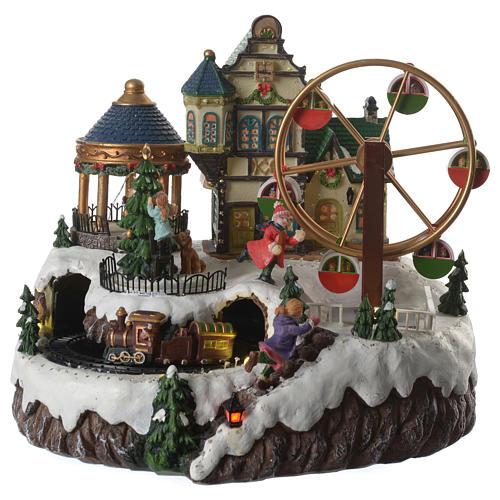 Cenário de Natal musical roda gigante e trem em movimento 34x26x29 cm 1