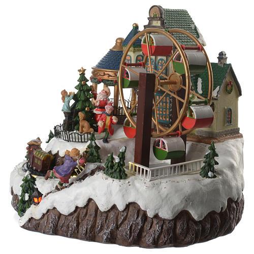 Cenário de Natal musical roda gigante e trem em movimento 34x26x29 cm 2