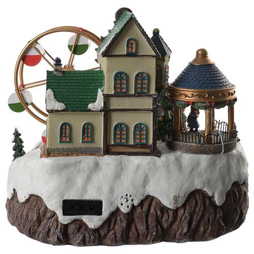 Cenário de Natal musical roda gigante e trem em movimento 34x26x29 cm 4