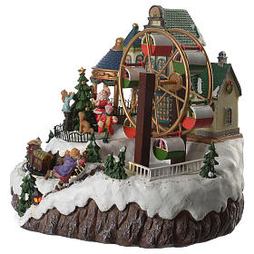 Animated Christmas village with music, ferris wheel and train 35x25x30 cm s2