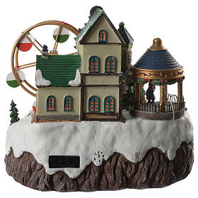 Animated Christmas village with music, ferris wheel and train 35x25x30 cm s4