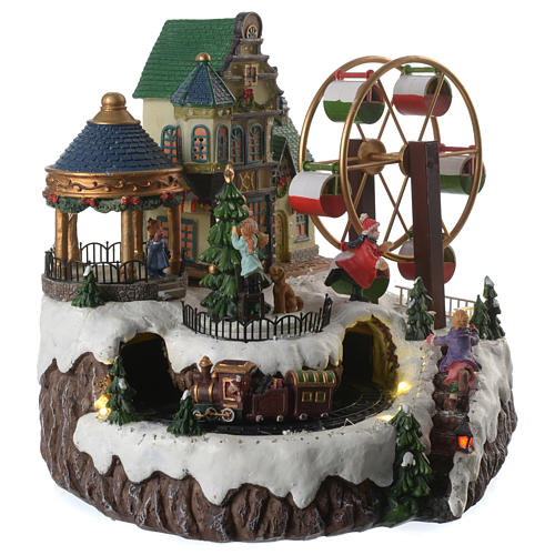 Animated Christmas village with music, ferris wheel and train 35x25x30 cm 3