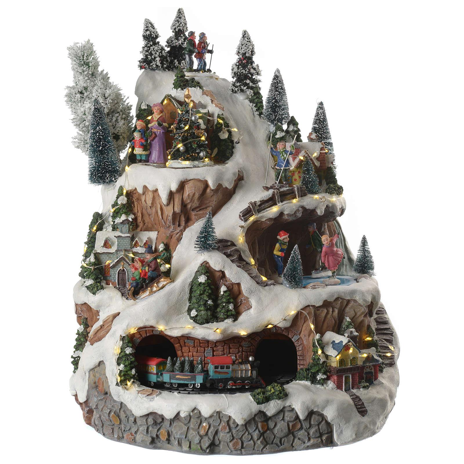 Villaggio natalizio montagna musicale illuminato e movimenti 30x30x40 3