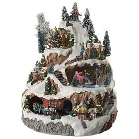 Villaggio natalizio montagna musicale illuminato e movimenti 30x30x40 s2