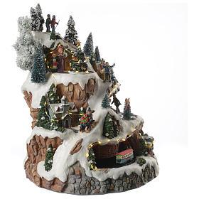 Villaggio natalizio montagna musicale illuminato e movimenti 30x30x40 s3