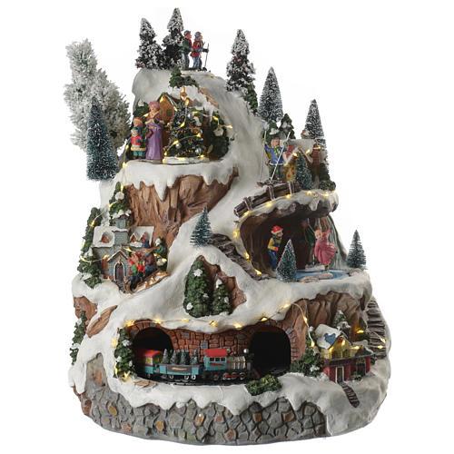 Villaggio natalizio montagna musicale illuminato e movimenti 30x30x40 1