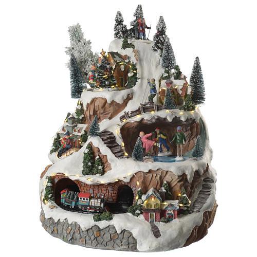 Villaggio natalizio montagna musicale illuminato e movimenti 30x30x40 2