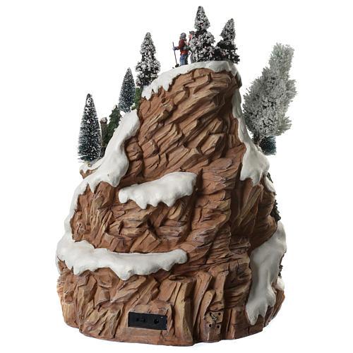 Villaggio natalizio montagna musicale illuminato e movimenti 30x30x40 4