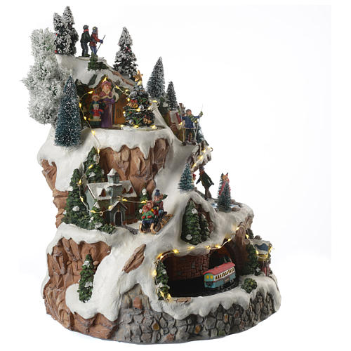 animated christmas village mountain scene with sounds and lights 30x30x40 cm 3 - Animated Christmas Village