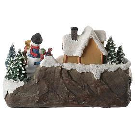 Village de Noël enfants en mouvement rivière éclairée 22x21x20 cm s8