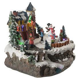 Village de Noël enfants en mouvement rivière éclairée 22x21x20 cm s3