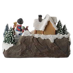 Village de Noël enfants en mouvement rivière éclairée 22x21x20 cm s6