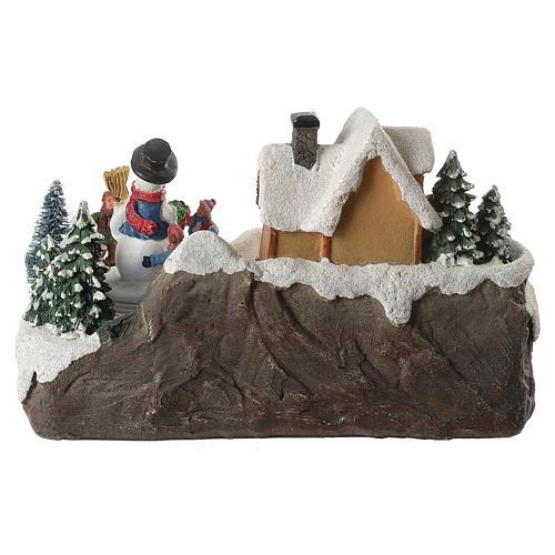 Village de Noël enfants en mouvement rivière éclairée 22x21x20 cm 6