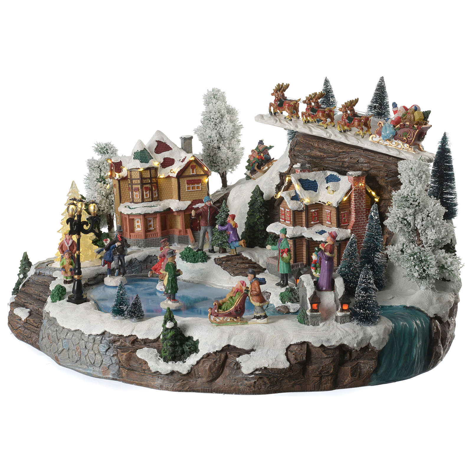 Christmas village with lake, skaters and moving sledge with music, lights and movement 55x40x30 cm 3