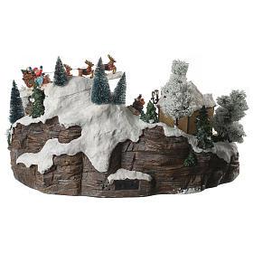 Villaggio natalizio lago pattinatori e slitta in movimento illuminato e musicale 55x40x30 s4