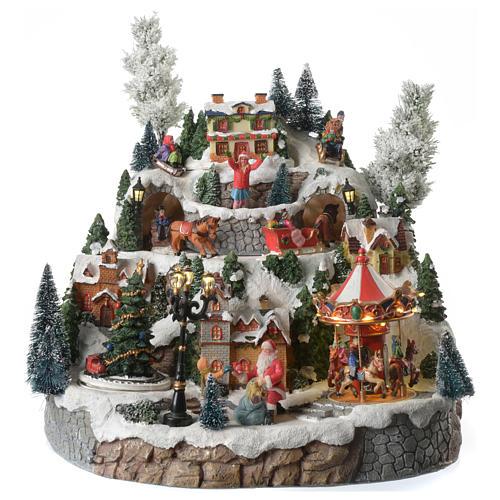 Weihnachtsdorf auf Berg, mit Beleuchtung, Musik und Pferdeschlitten in Bewegung, 35x35x30 cm 1
