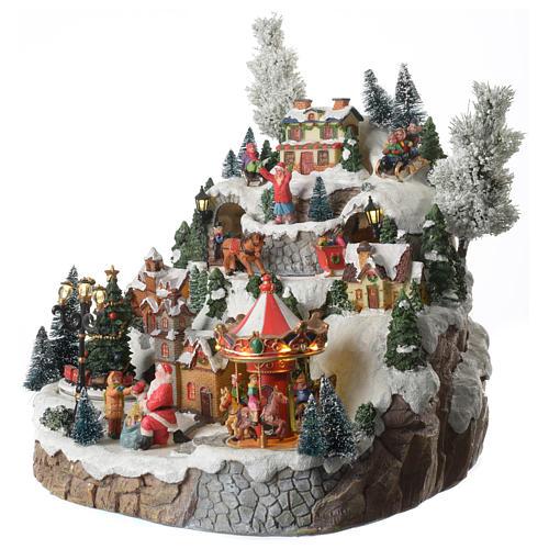 Weihnachtsdorf auf Berg, mit Beleuchtung, Musik und Pferdeschlitten in Bewegung, 35x35x30 cm 2