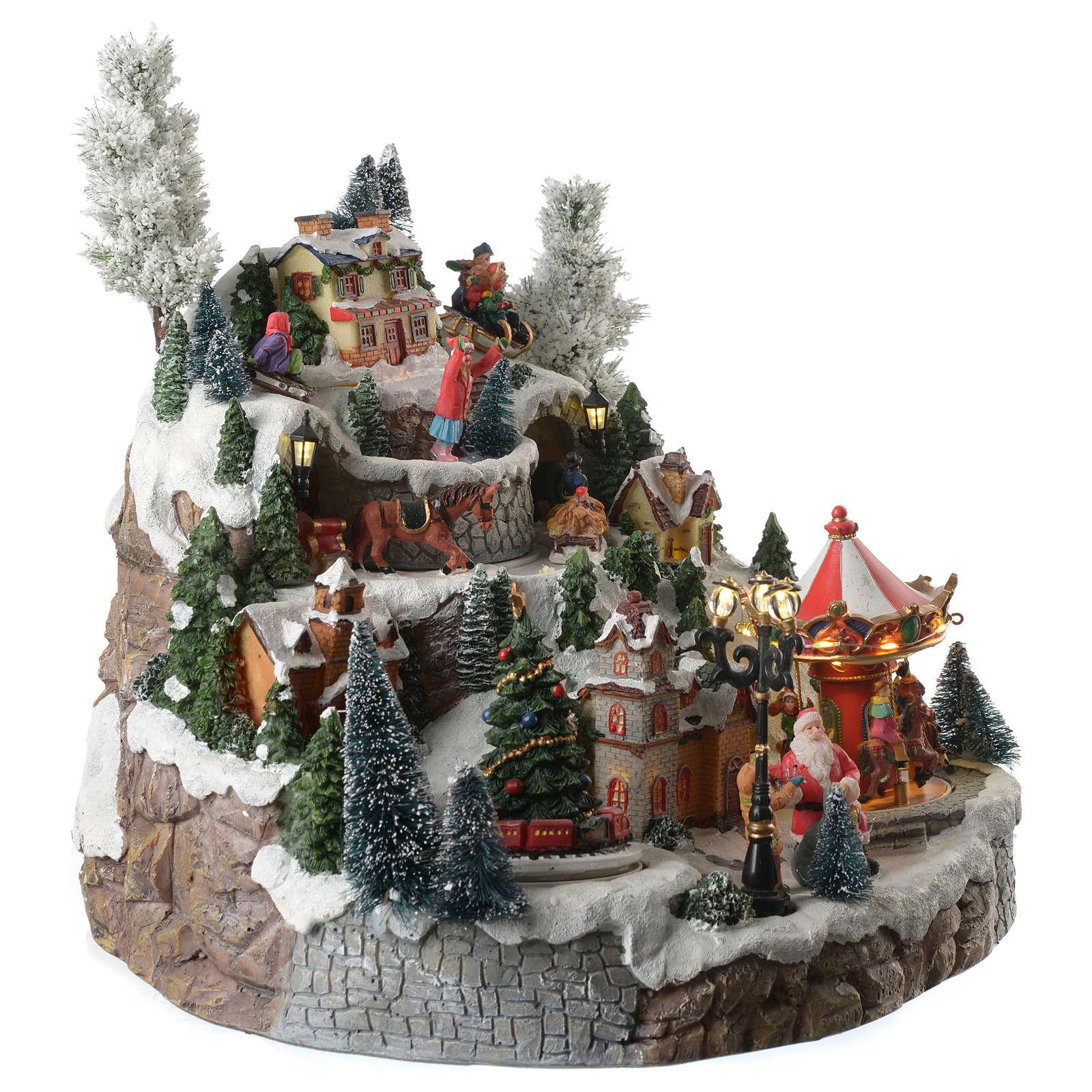 Aldea navideña montaña caballos en movimiento iluminado con música 35x35x30 3