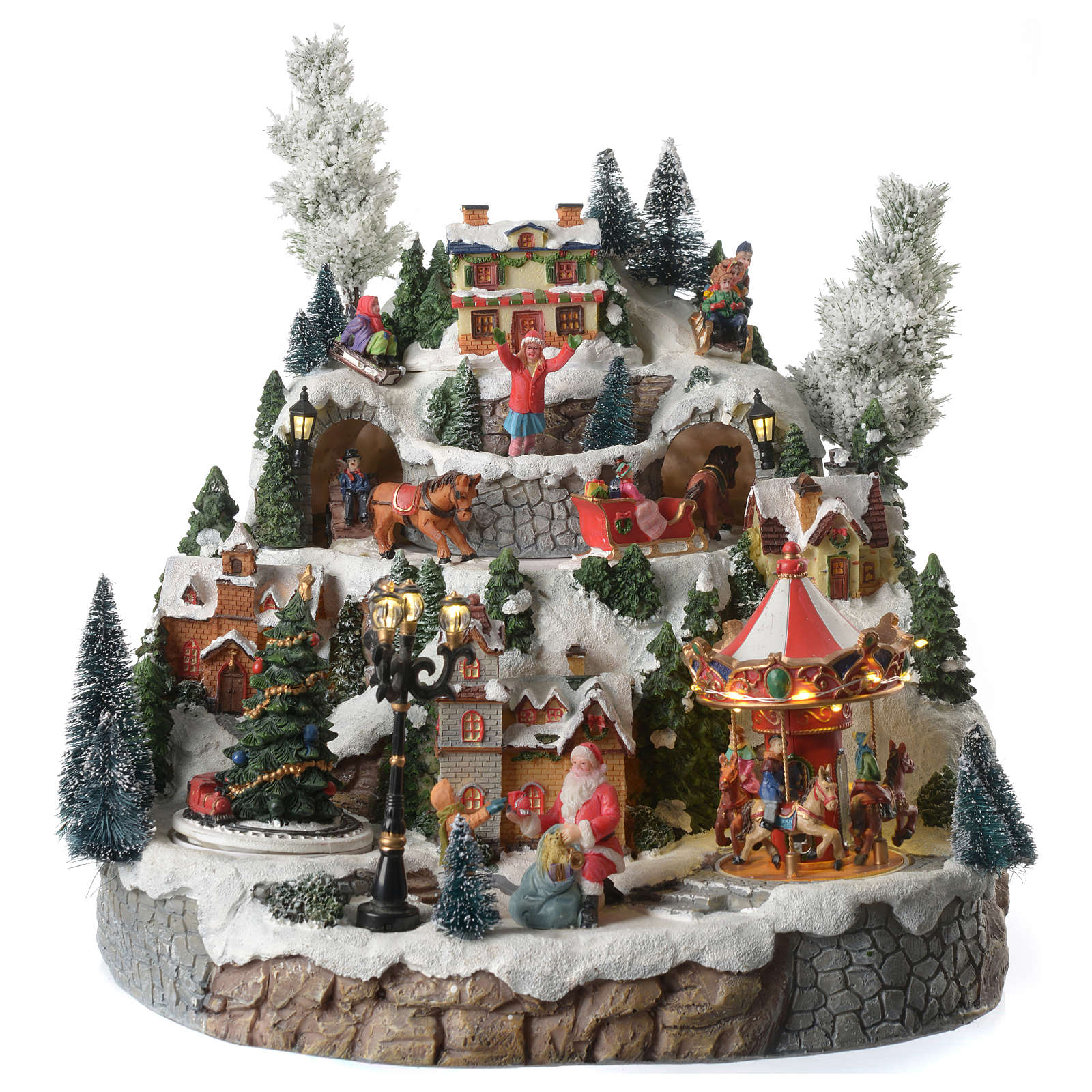 Villaggio natalizio montagna cavalli in movimento illuminato con musica 35x35x30 3