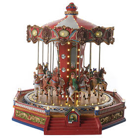 Merry go round with horses for Christmas village with lights, movement and music 35x35x35 cm s1